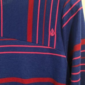 Volcom Tops - NWT Volcom Striped Top Blue Pink Red Large Pocket